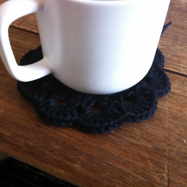 Black Crochet Coaster 2